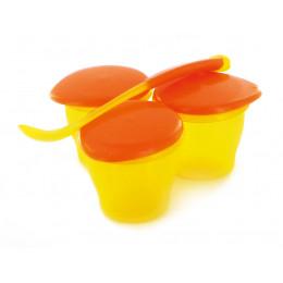 3 petits pots et une cuillère sans Bisphénol A