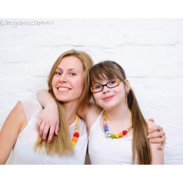 Colliers jumeaux pour mère et fille - colori arc-en-ciel - à partir de 6 ans *