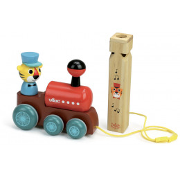 Train en bois à tirer avec sifflet en bois - à partir de 1 an *
