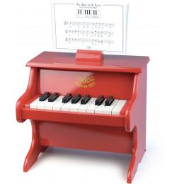 Jouet musical piano rouge en bois - à partir de 3 ans