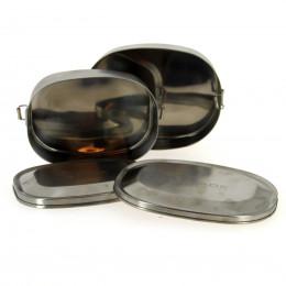 Kit de lunchboxes rectangulaires en inox avec clips Medium + Large
