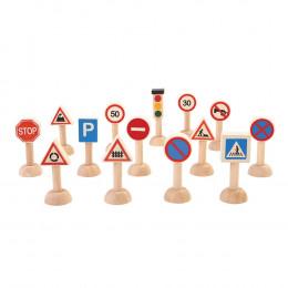 Set de panneaux designalisation routière en bois - à partir de 3 ans