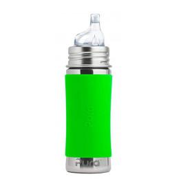 Biberon évolutif inox 325 ml bec de transition Vert