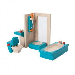 Salle de bain bois coloré maison poupée - à partir de 3 ans