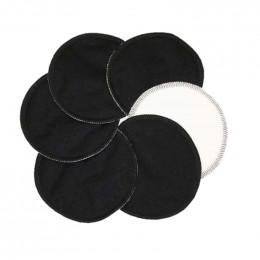 Coussinets d'allaitement plats en coton organique Stay Dry  - lot de 6 - Noir