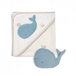Cape de bain et gant de toilette en coton Bio - Baleine