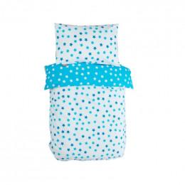 Housse de couette enfant 100 x 140 cm + 1 taie 40 x 60 cm Coton Bio - Etoiles bleues