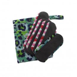 Kit de départ - serviettes hygiéniques lavables Minky -  Pochette Léopard et serviettes aléatoires