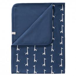 Couverture lit bébé - Girafe indigo blue