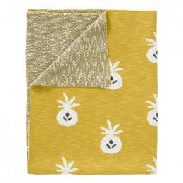 Couverture en tricot Pineapple mustard
