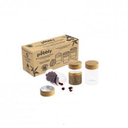 3 petits pots hermétiques en verre et bambou - 3 x 75 ml
