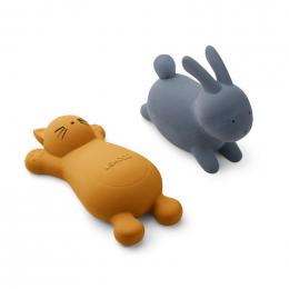 Set de 2 jouets de bain Vikky Cat mustard