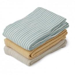 Set de 3 langes en tétra Line - Sea blue stripe mix