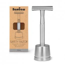 Rasoir de sûreté metal - argenté + socle