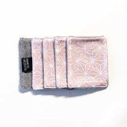 Pochette + 5 lingettes démaquillante en coton - 8 x 10 cm - Casual