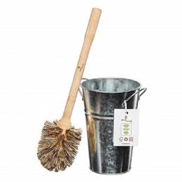 Seau en inox et brosse de toilette en bois